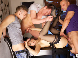 Gorgeous Russian Lingerie Slut Gangbanged By Horny Guys
